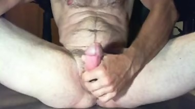 Hairy, fit Daddy jacking off fat dick and shooting a cum load