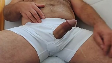 Hairy Daddy Masturbation until Cumshot wearing Boxer Underwear