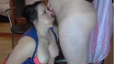 Fucking Deepthroat my BBW wife on live webcam