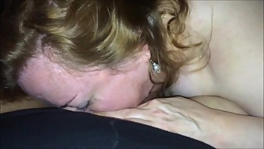 Chunky MILF eating his cock POV