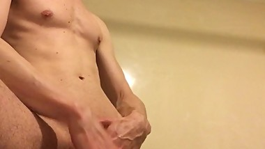 hot college jock twink sucked off by straight guy shower sexy blowjob oral