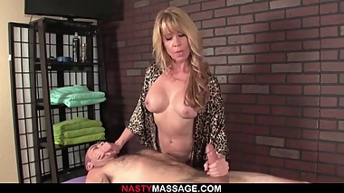 Nina punishes jerk with a rough handjob